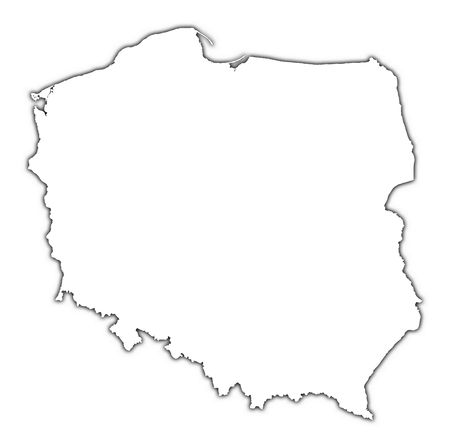 mercator: Poland outline map with shadow. Detailed, Mercator projection.