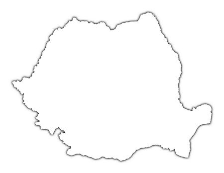 mercator: Romania outline map with shadow. Detailed, Mercator projection.