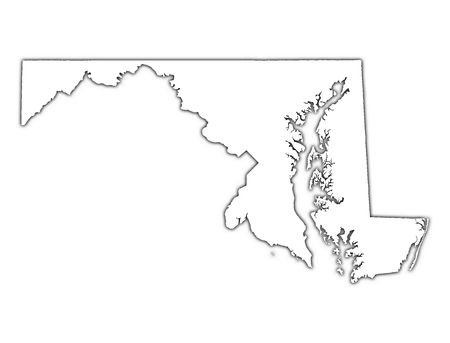 mercator: Maryland (USA) outline map with shadow. Detailed, Mercator projection.
