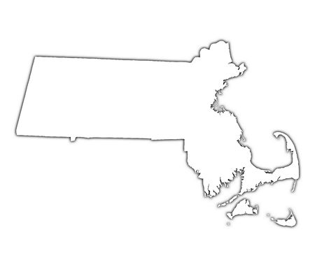 massachusetts: Massachusetts (USA) outline map with shadow. Detailed, Mercator projection.