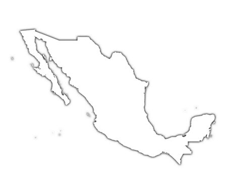 mercator: Mexico outline map with shadow. Detailed, Mercator projection.