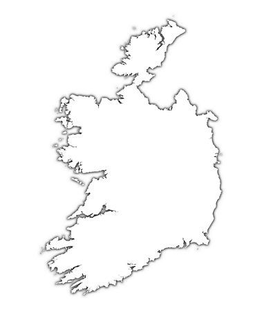 mercator: Ireland outline map with shadow. Detailed, Mercator projection. Stock Photo