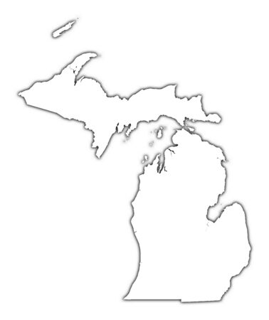 Michigan (USA) outline map with shadow. Detailed, Mercator projection. Stock Photo