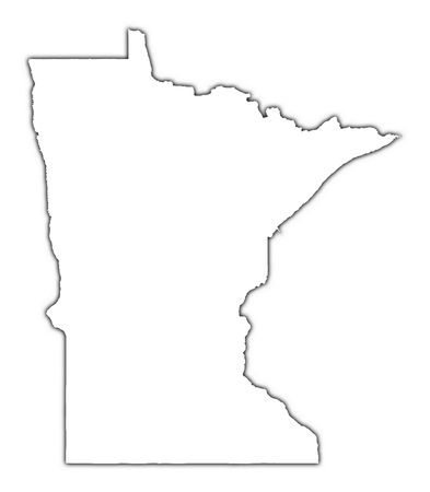 Minnesota (USA) outline map with shadow. Detailed, Mercator projection.