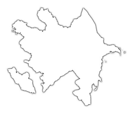 mercator: Azerbaijan outline map with shadow. Detailed, Mercator projection. Stock Photo