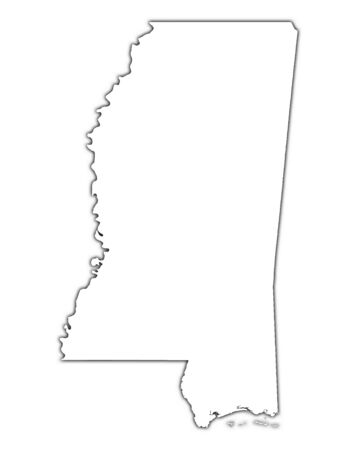 shading: Mississippi (USA) outline map with shadow. Detailed, Mercator projection. Stock Photo