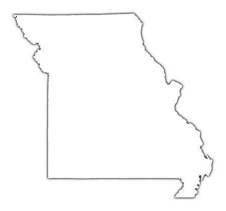 outline map: Missouri (USA) outline map with shadow. Detailed, Mercator projection.