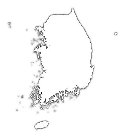 South Korea outline map with shadow. Detailed, Mercator projection.