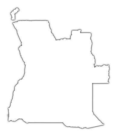 angola: Angola outline map with shadow. Detailed, Mercator projection. Stock Photo