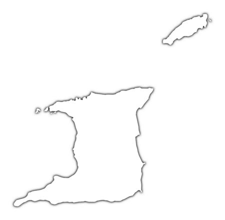 shading: Trinidad and Tobago outline map with shadow. Detailed, Mercator projection. Stock Photo