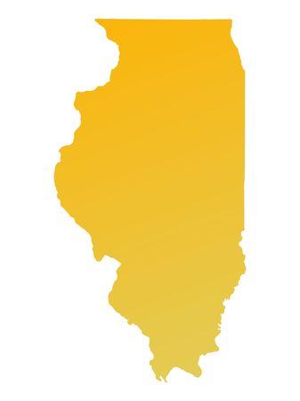 shading: Orange gradient Illinois map, USA. Detailed, Mercator projection. Stock Photo