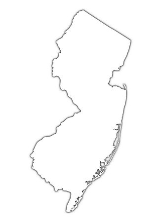 New Jersey (USA) outline map with shadow. Detailed, Mercator projection.