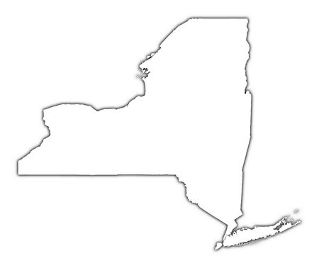 New York (USA) outline map with shadow. Detailed, Mercator projection.