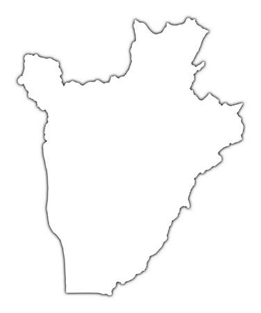 shading: Burundi outline map with shadow. Detailed, Mercator projection.