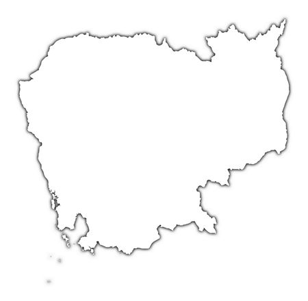high resolution: Cambodia outline map with shadow. Detailed, Mercator projection. Stock Photo