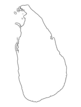 sri lanka: Sri Lanka outline map with shadow. Detailed, Mercator projection.