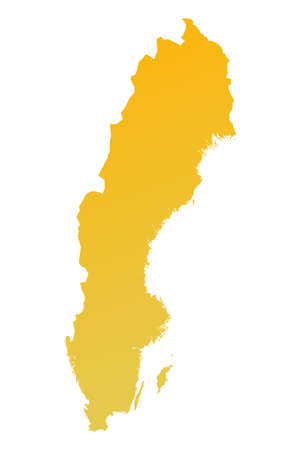 fill: Orange gradient Sweden map. Detailed, Mercator projection. Stock Photo