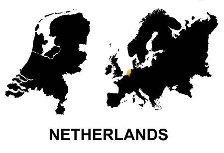holand: Netherlands and Europe map Stock Photo