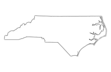 contours: North Carolina (USA) outline map with shadow. Detailed, Mercator projection. Stock Photo