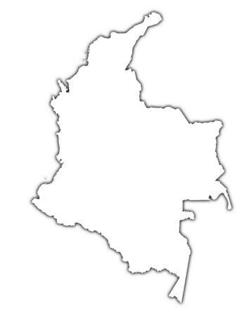 Colombia outline map with shadow. Detailed, Mercator projection.