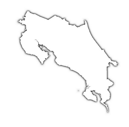 Costa Rica outline map with shadow. Detailed, Mercator projection.