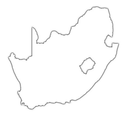 black outline: South Africa outline map with shadow. Detailed, Mercator projection. Stock Photo