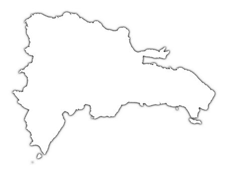 dominican republic: Dominican Republic outline map with shadow. Detailed, Mercator projection.