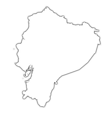shading: Ecuador outline map with shadow. Detailed, Mercator projection.