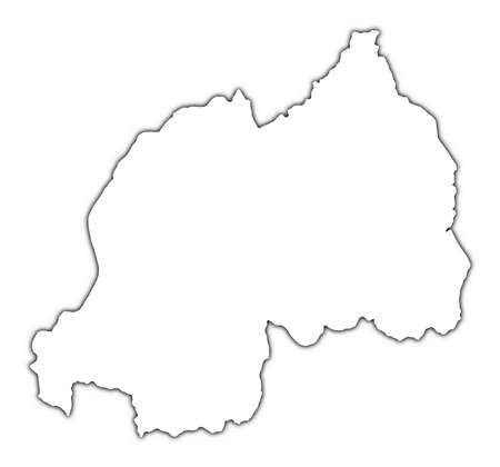 shading: Rwanda outline map with shadow. Detailed, Mercator projection. Stock Photo