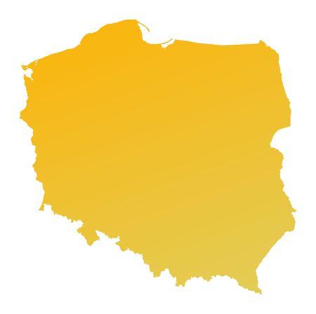 shading: Orange gradient Poland map. Detailed, Mercator projection.