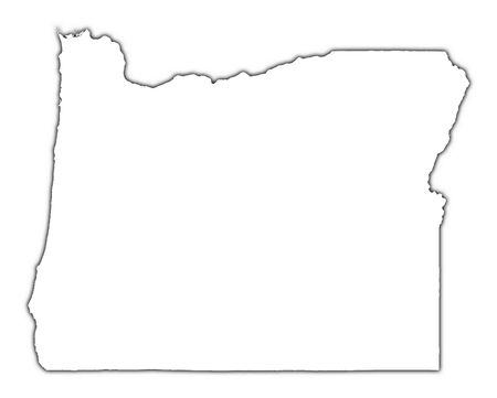outline of: Oregon (USA) outline map with shadow. Detailed, Mercator projection.
