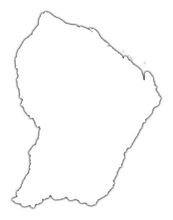 French Guiana outline map with shadow. Detailed, Mercator projection. photo
