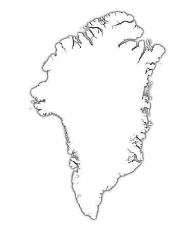 greenland: Greenland outline map with shadow. Detailed, Mercator projection.
