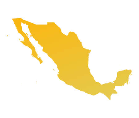 mexiko karte: Orange Mexiko Verlaufsumsetzung. Detaillierte, Mercator-Projektion.  Lizenzfreie Bilder