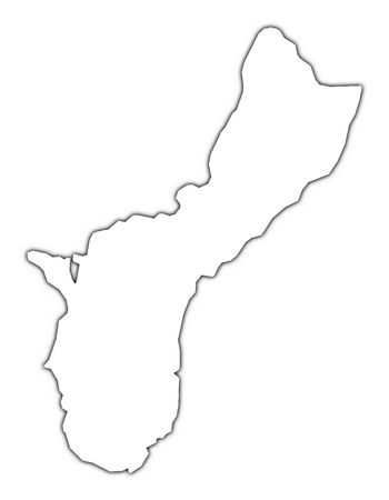 guam: Guam outline map with shadow. Detailed, Mercator projection. Stock Photo