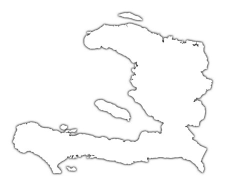 haiti: Haiti outline map with shadow. Detailed, Mercator projection.