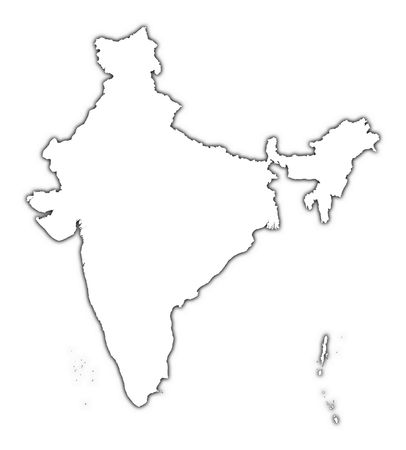 India outline map with shadow. Detailed, Mercator projection. photo