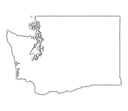 black outline: Washington (USA) outline map with shadow. Detailed, Mercator projection. Stock Photo