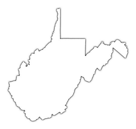 West Virginia (USA) outline map with shadow. Detailed, Mercator projection.