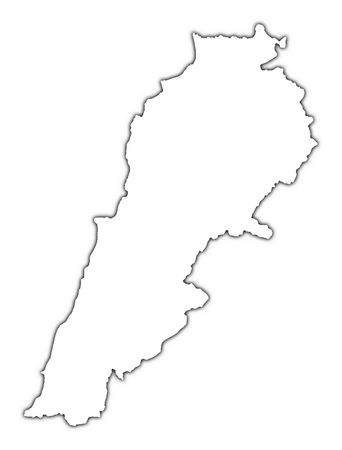 shading: Lebanon outline map with shadow. Detailed, Mercator projection. Stock Photo