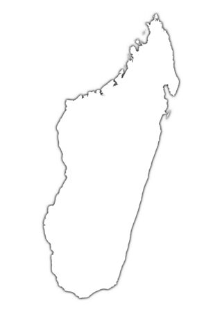 shading: Madagascar outline map with shadow. Detailed, Mercator projection. Stock Photo