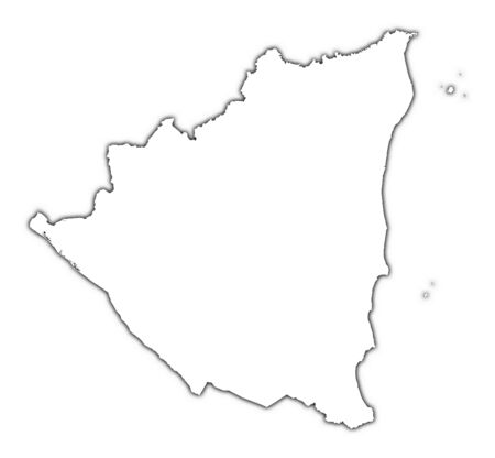 Nicaragua: Nicaragua outline map with shadow. Detailed, Mercator projection. Stock Photo