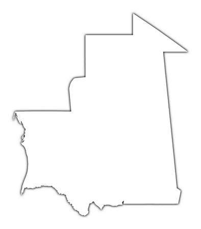 shading: Mauritania outline map with shadow. Detailed, Mercator projection. Stock Photo