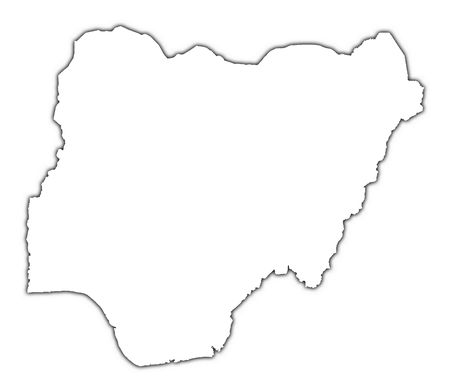Nigeria outline map with shadow. Detailed, Mercator projection. photo