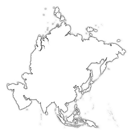 Asia Outline Map With Shadow. Detailed, Mercator Projection. Stock ...