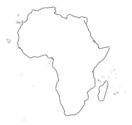 map of africa: Africa outline map with shadow. Detailed, Mercator projection.