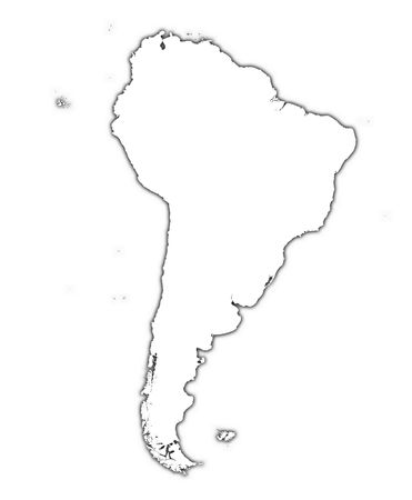 south of the border: South America outline map with shadow. Detailed, Mercator projection.