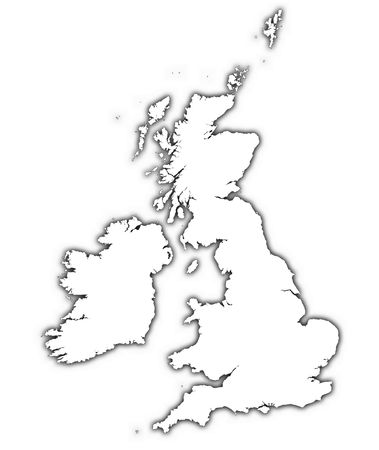 Great Britain and Ireland outline map with shadow. Detailed, Mercator projection.