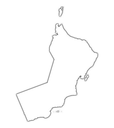 oman background: Oman outline map with shadow. Detailed, Mercator projection.