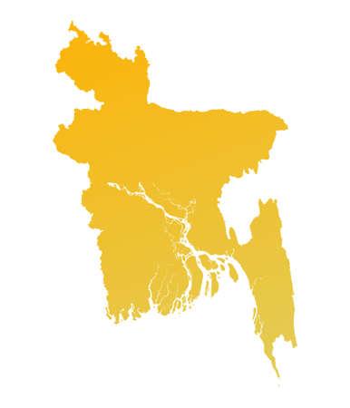 shading: Orange gradient Bangladesh map. Detailed, Mercator projection.